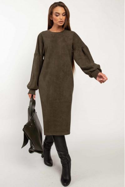 Універсальне плаття кольору хакі для жінок з апетитними формами