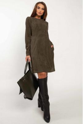 Жіночна коротка сукня кольору хакі великих розмірів