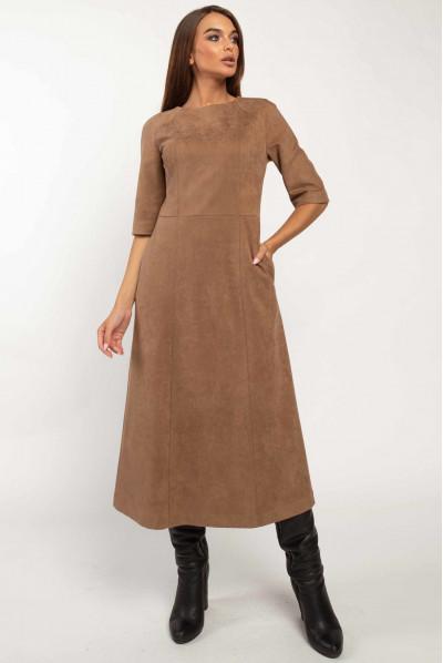 Затишне плаття міді кольору капучіно