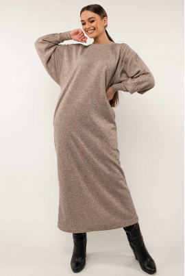 Бежеве жіночне лаконічне плаття великих розмірів