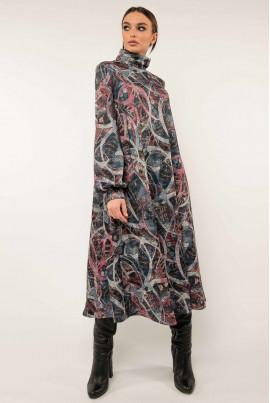 Джинсово-бузкове повсякденне плаття з принтом для повних жінок