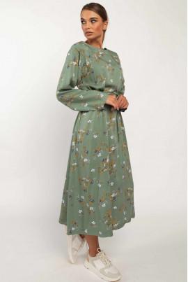 Зелене елегантне плаття міді з принтом