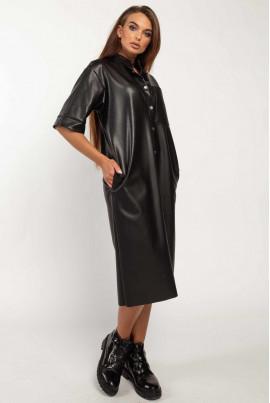 Чорне шкіряне плаття для повних жінок