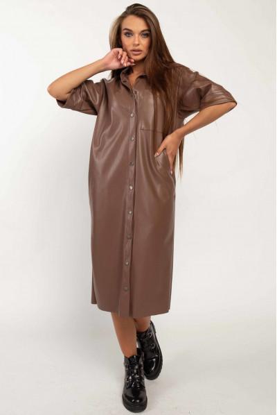 Модне універсальне плаття кольору капучіно