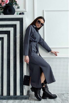 Повсякденне оригінальне плаття-сорочка в смужку кольору графіт