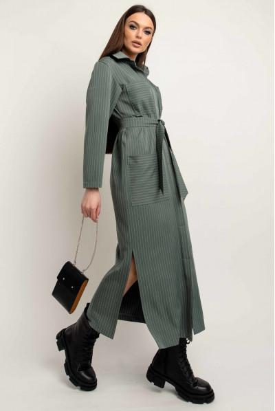 Оливкова принтована сукня-сорочка для жінок з пишними формами