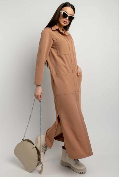 Затишне просторе плаття-рубашка кольору кемел