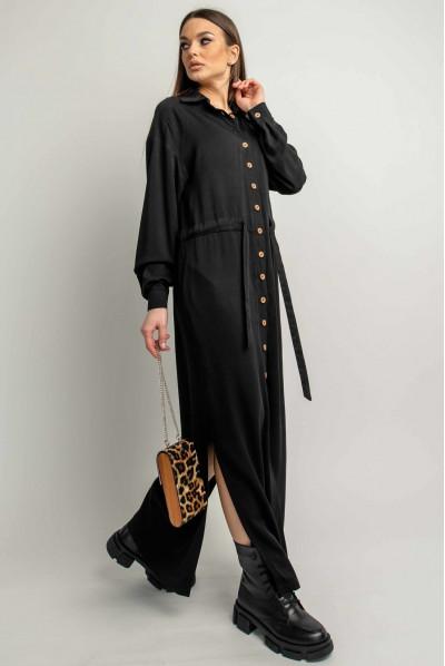 Чорна однотонна сукня максі з кулискою