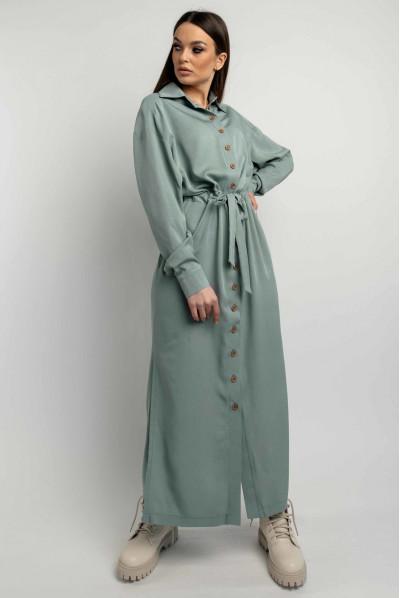 Оливкова довга сукня-сорочка для повних жінок