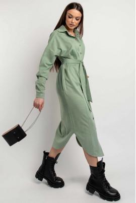 Оливкове комфортне замшеве плаття великих розмірів