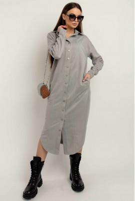 Сіре трендове плаття-сорочка з еко-замші