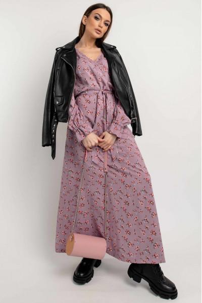 Бузкове гармонійне плаття максі в бохо-стилі