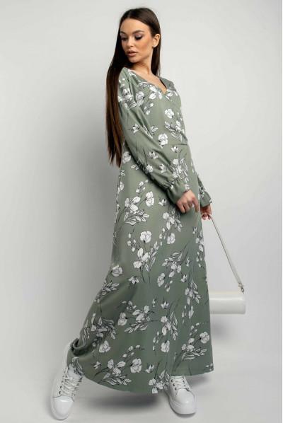 Оливкова стильна сукня максі з ніжним квітковим принтом
