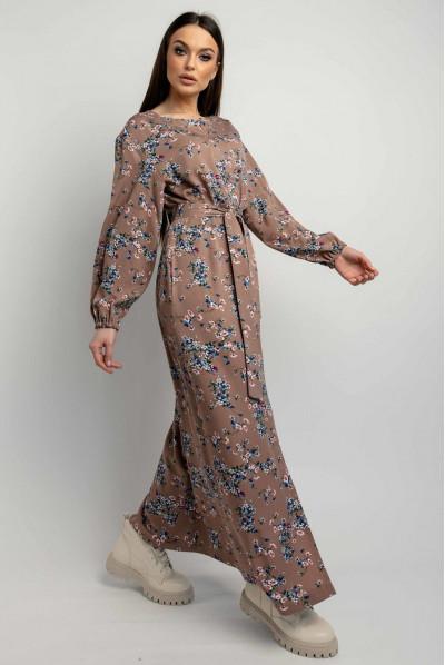 Жіночна ніжна сукня максі кольору капучіно
