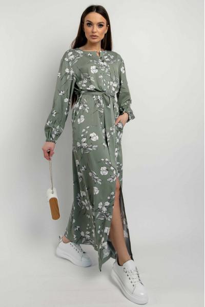Оливкова сукня максі з високим разрізом