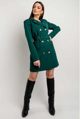 Смарагдове молодіжне коротке плаття-піджак великого розміру