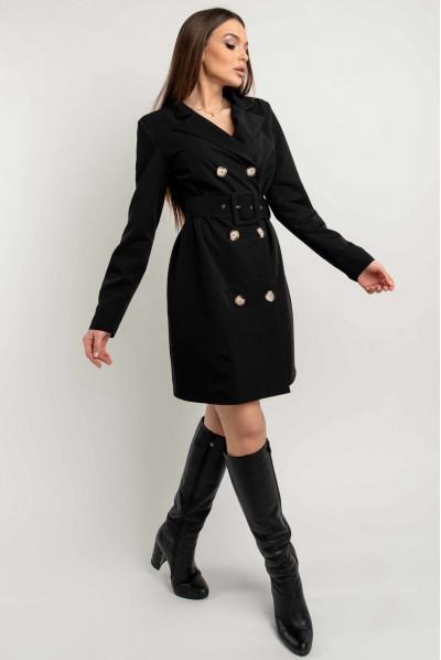 Чорне модне плаття-піджак міні з поясом