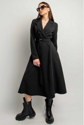 Чорна ультрамодна однотонна сукня міді