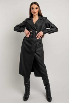 Чорна трендова сукня-піджак для жінок з пишними формами