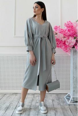 Сіра замшева сукня міді великих розмірів