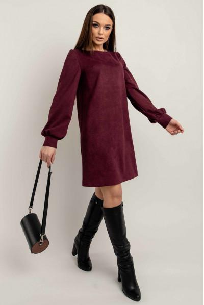 Оригінальне коротке плаття кольору марсала