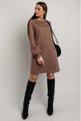 Замшеве мінімалістичне плаття кольору капучіно