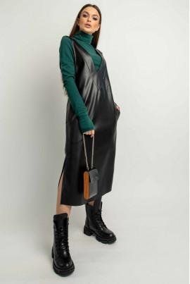 Чорний повсякденний сарафан з еко-кожі