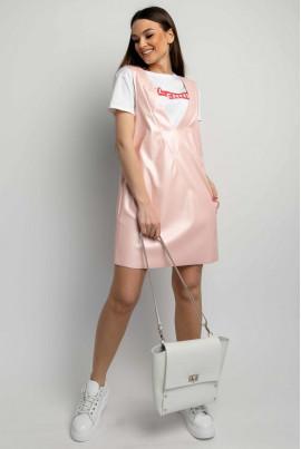 Перлинно-рожевий шкіряний модний сарафан