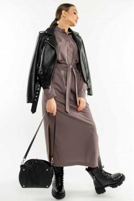 Лавандова льняна сукня-сорочка максі з кишенями