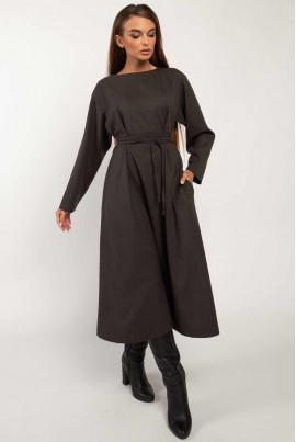 Мінімалістична однотонна сукня міді кольору графіт