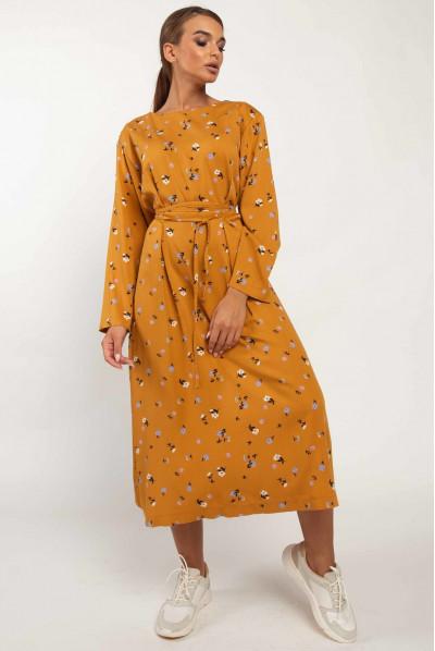 Гірчичне привабливе плаття міді з квітковим принтом