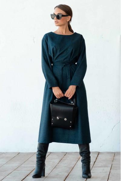 Бірюзова тепла гармонійна сукня міді великих розмірів