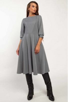 Сіра класична смугаста сукня в діловому стилі