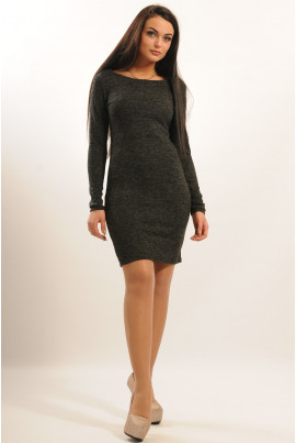 Однотонна трикотажна сукня міні кольору графіт