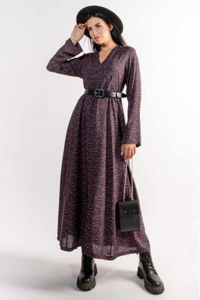 Чорна шикарна довга сукня з дрібним квітковим принтом
