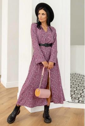 Бузкова квіткова сукня максі з штапеля