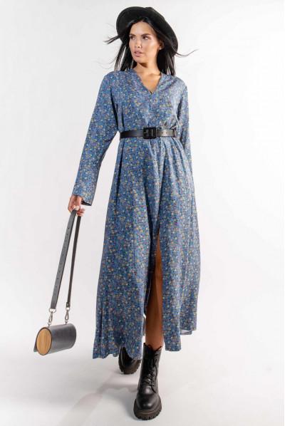 Блакитна гармонійна довга сукня з дрібним принтом
