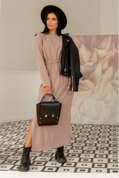 Бежева стильна бавовняна довга сукня великих розмірів