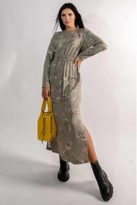 Лаконічна елегантна сукня кольору хакі
