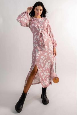Пудрова ніжна грайлива сукня міді з квітковим принтом