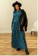 Синя квіткова сукня максі з кишенями зі штапеля