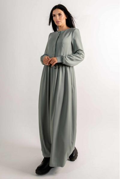 Оливкова універсальна довга сукня з поясом