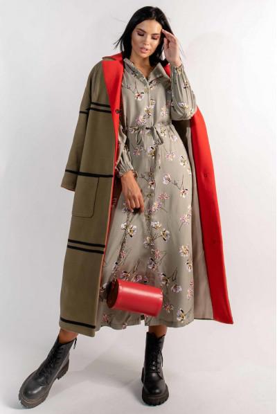 Ефектне жіноче квіткове плаття міді кольору хакі