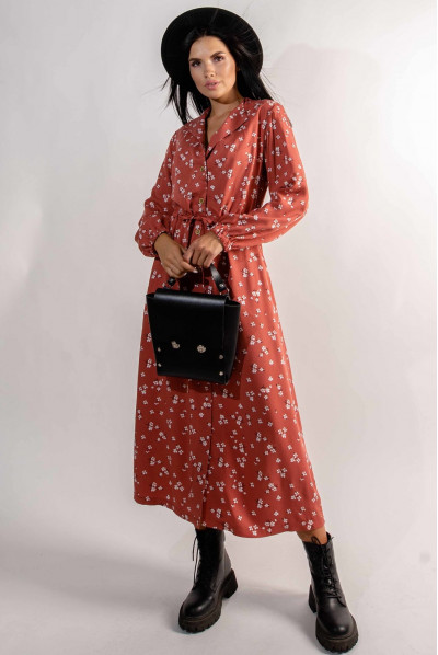 Теракотова квіткова сукня міді на гудзиках