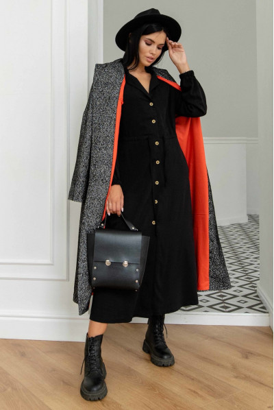 Чорна приваблива затишна сукня міді для повних жінок