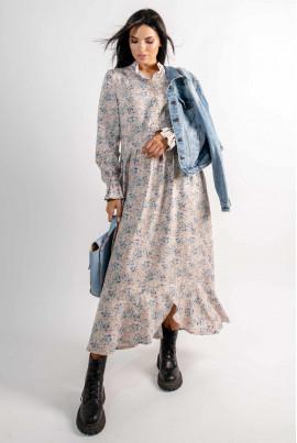 Бежева квіткова простора сукня міді зі штапеля