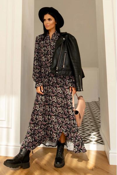 Чорна неймовірно жіночна сукня міді зі штапеля