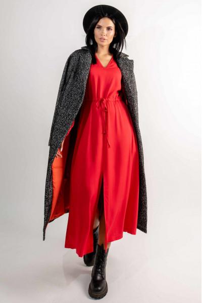 Червона однотонна трендова сукня міді для жінок з королівськими формами