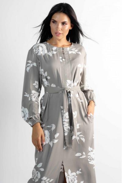 Жіночне довге квіткове плаття кольору попелястий хакі