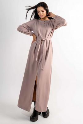 Бежева стримана довга сукня великих розмірів